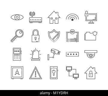 Security, protect and technology icons - Stock Photo
