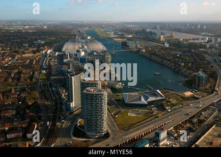 Aerial view of Royal Victoria Dock and The London City Airport East London England. - Stock Photo