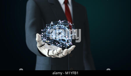 Robot in suit holdng artificial intelligence. 3D illustration - Stock Photo