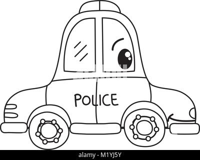 Police Vehicle Vector Line Icon Sign Illustration On Background