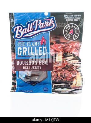 Winneconne, WI - 31 January 2018: A package  Ballpark beef jerky on an isolated background. - Stock Photo