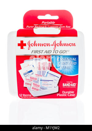 Winneconne, WI - 31 January 2018: A package of Johnson-Johnson first aid kit to go an isolated background. - Stock Photo