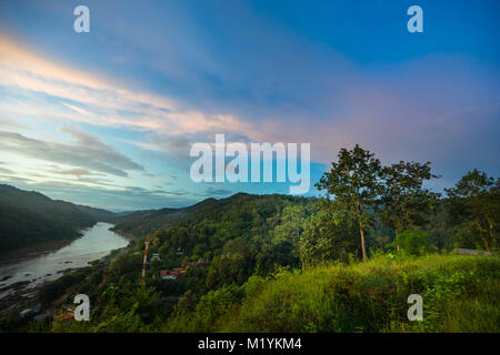 Salween river on Ban Mae Sam Laep, Sop Moei District, Mae Hong Son province between Thailand and Myanmar border - Stock Photo