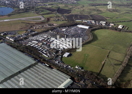 aerial view of Sentinel airport car parking at LBA, Leeds Bradford Airport - Stock Photo