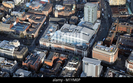 aerial view of The Light building on the Headrow, Leeds - Stock Photo