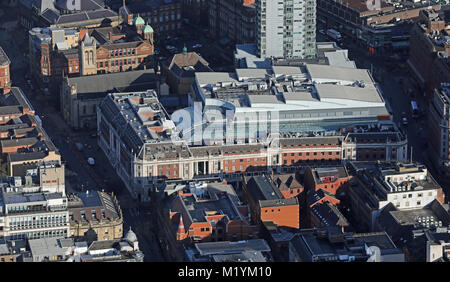 aerial view of Leeds city centre 2018, UK - Stock Photo