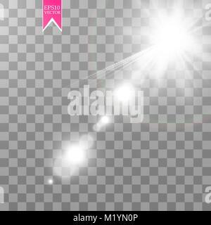 Vector transparent sunlight special lens flare light effect. Sun flash - Stock Photo