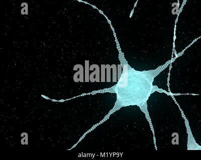 Abstract Illustration of Neurons In The Head Brain - Stock Photo