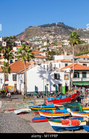 MADEIRA PORTUGAL MADEIRA camara de lobos Traditional decorated fishing boats Camara de Lobos beach and harbour camara - Stock Photo