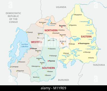 Rwanda political map with capital Kigali Republic and sovereign