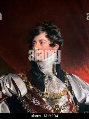 George IV. Portrait of King George IV, attributed to the studio of Sir Thomas Lawrence. Detail from a larger painting, - Stock Photo