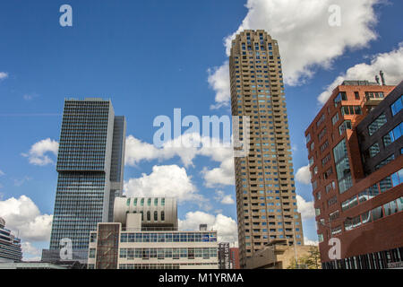 Rotterdam City In Netherlands; Unique And Specific Architecture Of  Rotterdam Buildings   Stock Photo