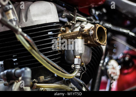 inside a motorcycle garage that builds vintage harleys - Stock Photo