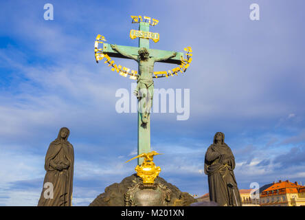 Prague, Czech Republic - December 31, 2017: Statuary of St. Cross - Calvary at Prague - Stock Photo