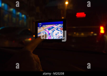 Navigation system in car - Stock Photo