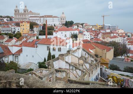 Lisbon (Portugal) - View of Alfama from Miradouro de Santa Luzia and Sao Vicente da Fora - Stock Photo