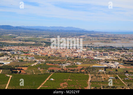 Amposta city view from Montsianell peak, in Terres de l'Ebre in Catalonia, Spain - Stock Photo