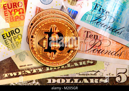 Bitcoin cryptocurrency / payment system (Copper Bitcoin Commemorative Round .999 bullion) Electronic currency with - Stock Photo