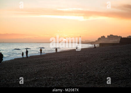 Brighton beach sunset and i360 - Stock Photo