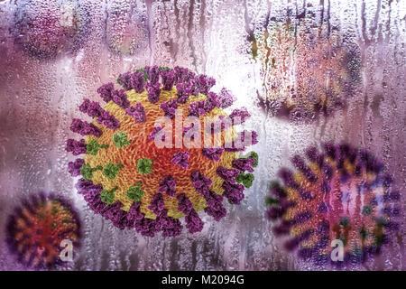 Flu viruses,conceptual illustration demonstrating seasonal character of respiratory infections with increase of - Stock Photo