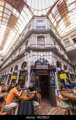 Istanbul, Turkey - May 19, 2017: Inside view from passage of Cicek, where is the most known pub of Istanbul - Stock Photo