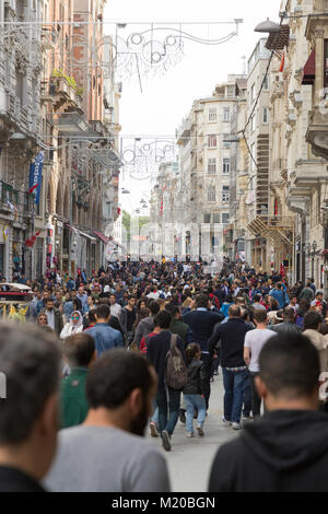 Istanbul, Turkey - May 19, 2017: General view from Istiklal Street, where is the most crowded street in Middle East - Stock Photo