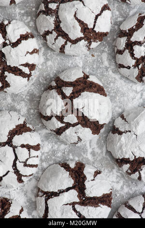 Homemade Chocolate Crinkle Cookies on a baking sheet - Stock Photo
