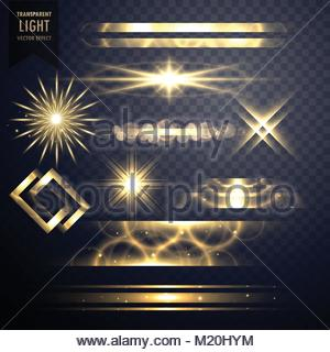 set of light sparkles effect glitters and lens flares - Stock Photo