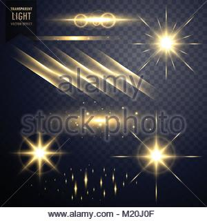 collection of transparent lens flares light effect with twinkle stars - Stock Photo