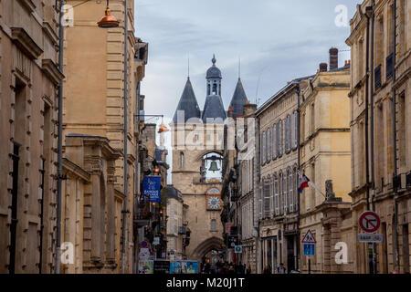 BORDEAUX, FRANCE - DECEMBER 26, 2017: Porte Saint James (Saint James Gate) also known as Grosse Cloche (Big Bell) - Stock Photo