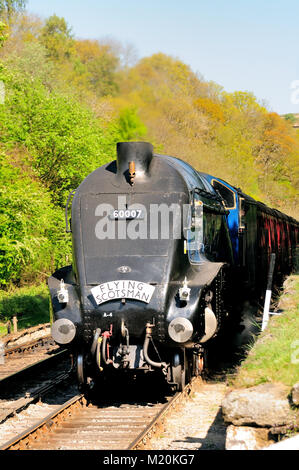 Class A4 Pacific No 60007 'Sir Nigel Gresley' arriving at Goathland with the 1030 Grosmont - Pickering, and carrying - Stock Photo