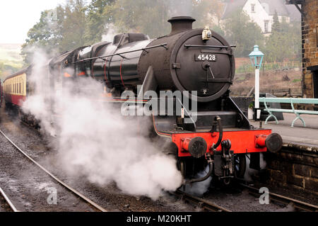 LMS Class 5 No 45428 'Eric Treacy' waits to leave Grosmont with the 1030 departure to Pickering on the North Yorkshire - Stock Photo