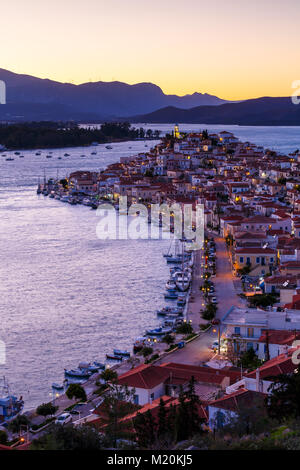 View of Poros island and mountains of Peloponnese peninsula in Greece. - Stock Photo