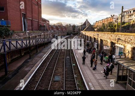 Clifton Down railway station platform. Whiteladies Road, Bristol, UK. - Stock Photo