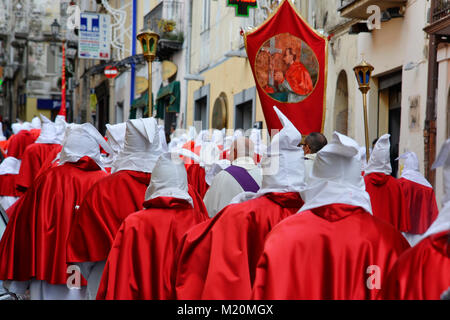 Hooded men during procession in Holy Week. Sessa Aurunca. Italy. © Antonio Ciufo - Stock Photo