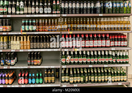 Kiev, Ukraine. February 1 2018. Different types of beer on the shelves in the supermarket - Stock Photo