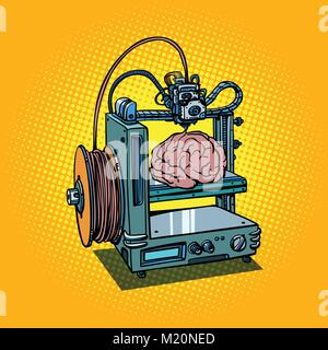 brain biotechnology medicine printing human organs 3D printer - Stock Photo