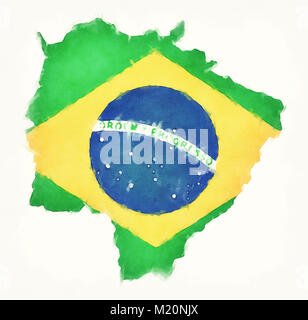 Mato Grosso do Sul watercolor map with Brazilian national flag in front of a white background - Stock Photo
