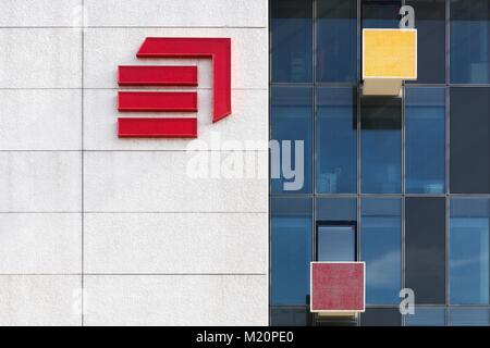 Lyon, France  March 15, 2017: Eiffage office building with the logo of the company on a wall. Eiffage is a French - Stock Photo