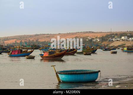 fisher boat harbor in  Mui Ne, Vietnam - - Stock Photo