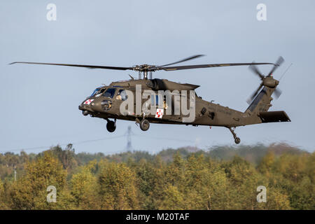 EINDHOVEN, THE NETHERLANDS - OCT 27, 2017: United States Army Sikorsky UH-60 Blackhawk transport helicopter in flight. - Stock Photo