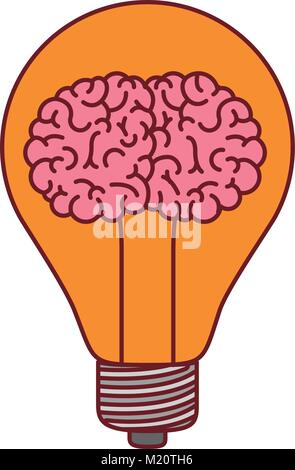light bulb with brain inside in colorful silhouette with brown contour - Stock Photo