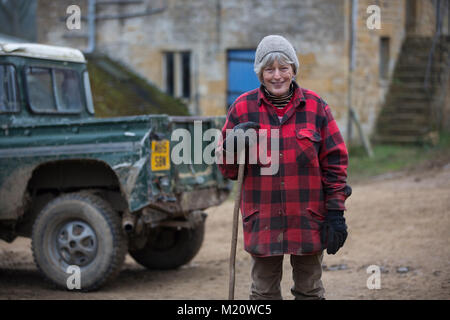 Rosamund Young, author of 'The Secret Life of Cows', photographed on Kites Nest Farm, where she breeds free-range - Stock Photo