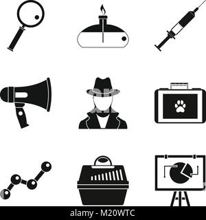 Intelligencer icons set, simple style - Stock Photo