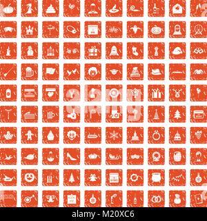 100 holidays icons set grunge orange - Stock Photo