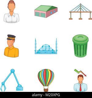 Biggest city icons set, cartoon style - Stock Photo
