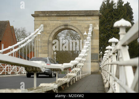 Suspension bridge Marlow Bridge designed by William Tierney Clark in XIX century on River Thames in Marlow, Buckinghamshire, - Stock Photo