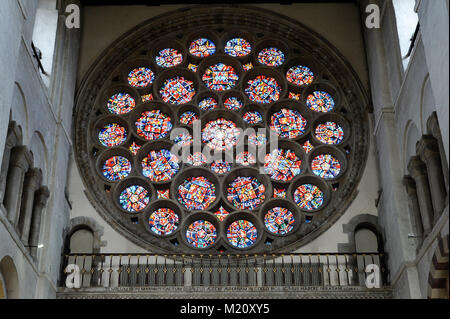 Gothic Rose window in Norman, Romanesque and Gothic style Cathedral and Abbey Church of St Alban from XI century - Stock Photo