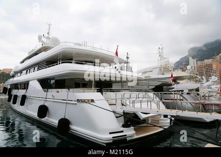 Yacht and boats in Monaco harbour - Stock Photo