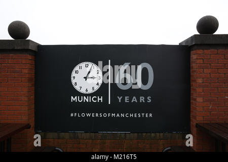 Manchester, UK, 3 Feb 2018. A memorial of Munich  on the 60th anniversary of the Munich Air Disaster. On the 6th - Stock Photo
